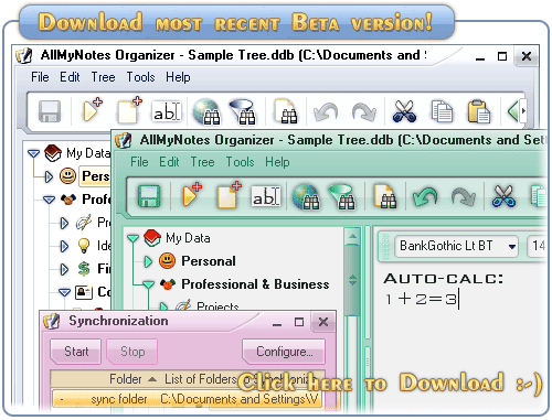 Download AllMyNotes Organizer Version 3 Beta now!