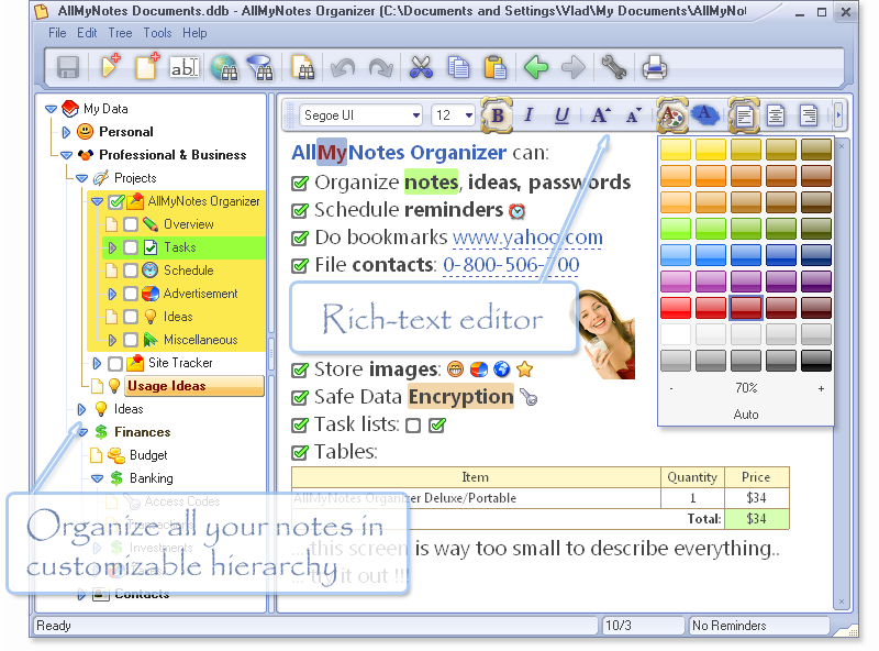 Quick notetaking software screens all my notes organizer for Construction organizer notebook